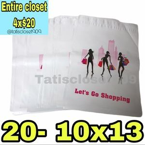 4x$20 || 20 poly mailers shopping girl white 10x13